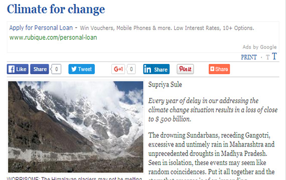 Climate for Change (The Hindu) - Supriya Sule